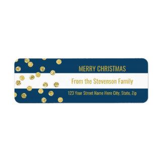 Etiqueta Feliz Natal dos confetes do ouro das listras de