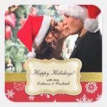 Etiqueta feliz personalizada do Natal da foto do f Adesivo Em Forma Quadrada