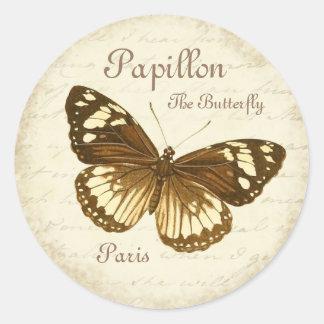 Etiqueta feminino & bonita da borboleta do vintage adesivo