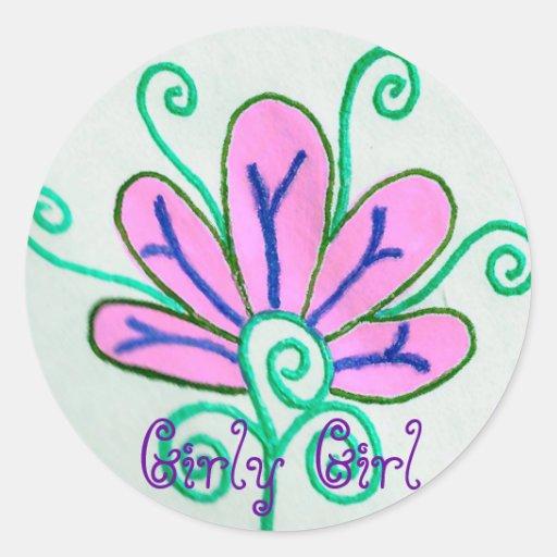 Etiqueta feminino da flor da menina adesivos em formato redondos