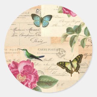 Etiqueta feminino do vintage com rosas e adesivo