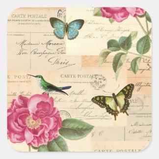 Etiqueta feminino do vintage com rosas e adesivo quadrado