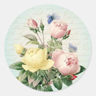 Etiqueta feminino do vintage dos rosas e feminino adesivo