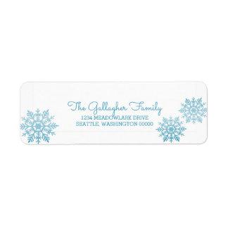 Etiqueta Feriado chique cintilante azul do floco de neve