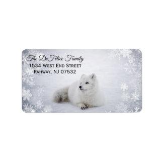 Etiqueta Feriado do Natal - Fox da neve com flocos de neve