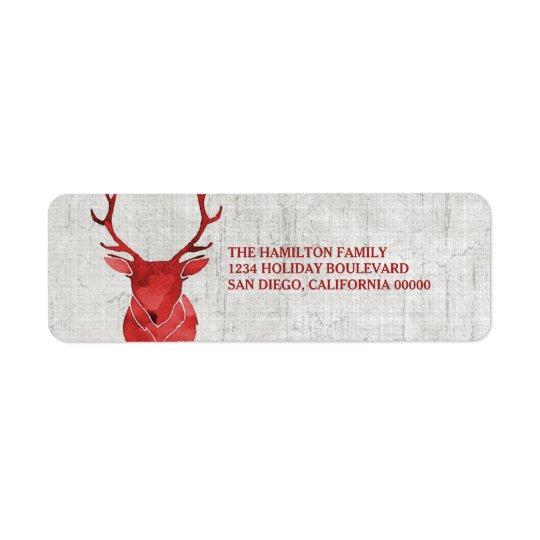 Etiqueta Feriado rústico vermelho dos cervos da aguarela