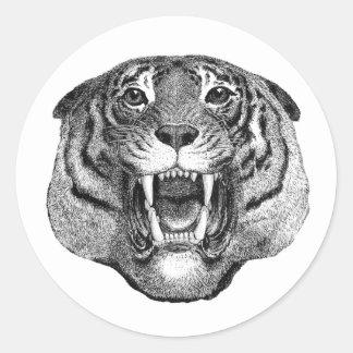 Etiqueta feroz da cara do tigre