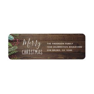 Etiqueta Festa natalícia de madeira rústica do Natal do