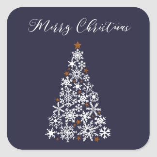 Adesivo Quadrado Etiqueta festiva da árvore de Natal do floco de