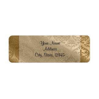 Etiqueta fino de seda do casamento do damasco do