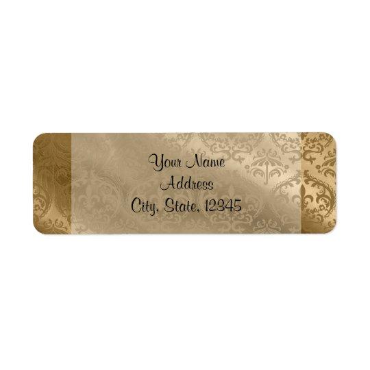 Etiqueta fino de seda do casamento do damasco do etiqueta endereço de retorno