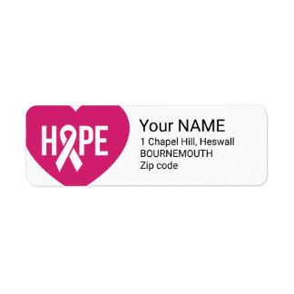 Etiqueta Fita do rosa da consciência do cancro da mama da