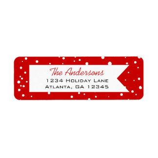 Etiqueta Floco de neve vermelho e branco alegre pouco Natal