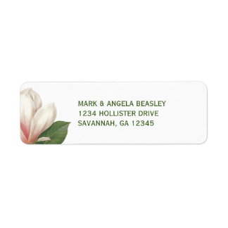 Etiqueta Flor da magnólia do sul que Wedding   cor-de-rosa