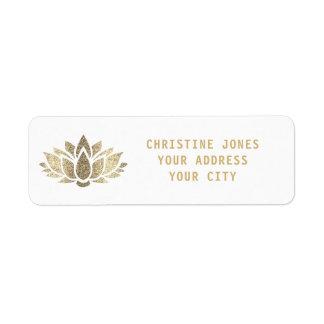 Etiqueta flor de lótus do brilho do ouro do falso