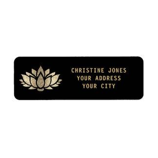 Etiqueta flor de lótus do brilho do ouro do falso no preto