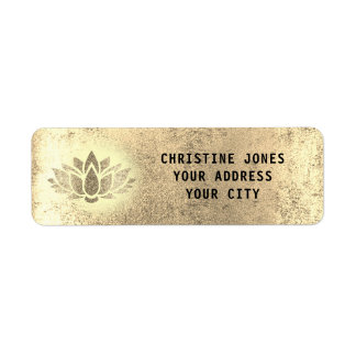 Etiqueta flor de lótus dourada