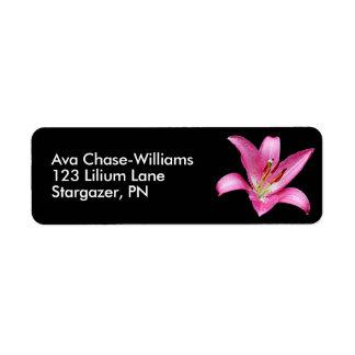 Etiqueta Flor oriental cor-de-rosa elegante do Stargazer do