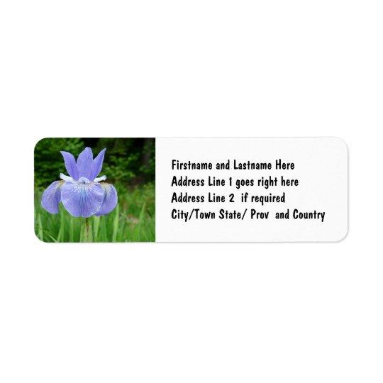 Etiqueta Flor Siberian da flor da íris do índigo azul bonit