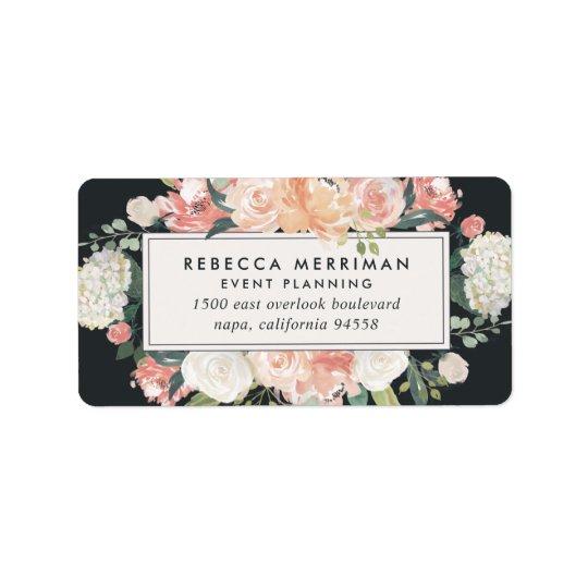Etiqueta Floral antigo coram & o endereço do remetente do