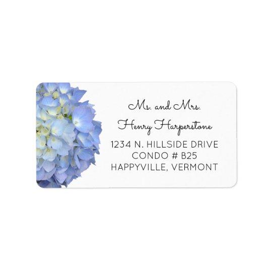 Etiqueta floral azul elegante do texto do preto do etiqueta de endereço