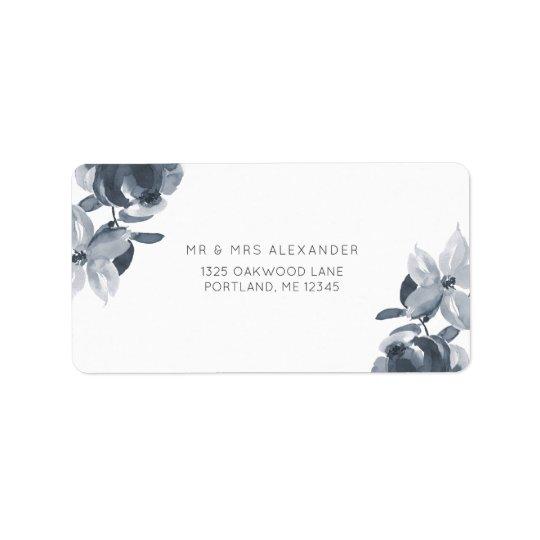 Etiqueta floral azul empoeirada romântica do