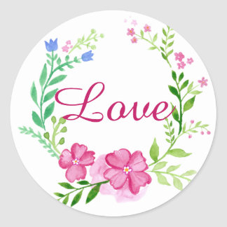 Etiqueta floral bonito do amor da aguarela