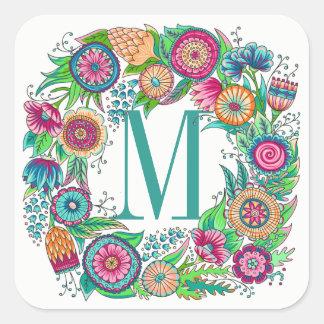 Etiqueta floral bonito do monograma
