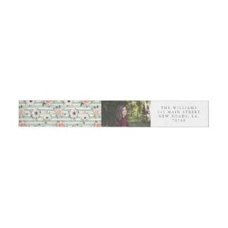 Etiqueta floral chique do envelope do envoltório