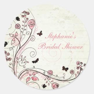 Etiqueta floral chique lunática do chá de panela adesivo