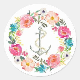 Etiqueta floral da âncora da aguarela