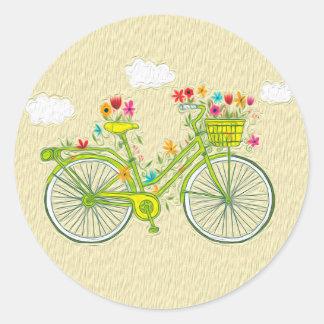 Etiqueta floral da bicicleta do vintage bonito