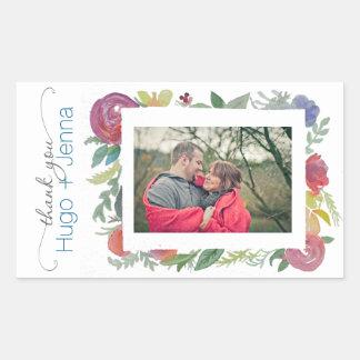 Etiqueta floral da foto da aguarela