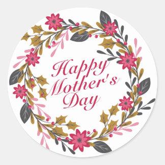 Etiqueta floral da grinalda do dia das mães feliz