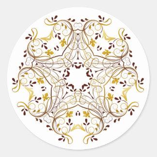 Etiqueta floral da grinalda do ouro
