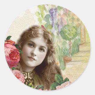 Etiqueta floral da mulher dos rosas da couve do