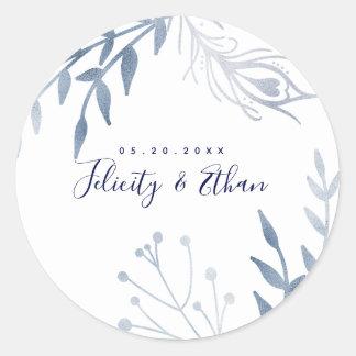 Etiqueta floral de prata do casamento da pena do