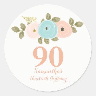 Etiqueta floral do aniversário do 90 da aguarela