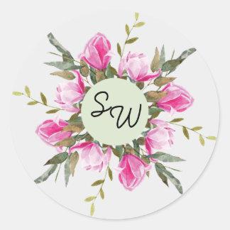 Etiqueta floral do casamento da aguarela da