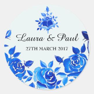 Etiqueta floral do casamento do azul de índigo