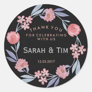 Etiqueta floral do casamento do ouro preto e adesivo