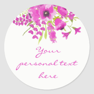 Etiqueta floral do chá de fraldas da aguarela roxa