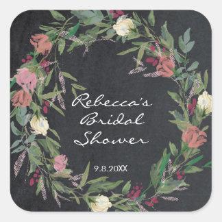 etiqueta floral do chá de panela da grinalda do