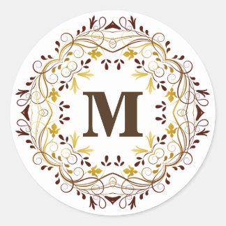 Etiqueta floral do selo do monograma da grinalda