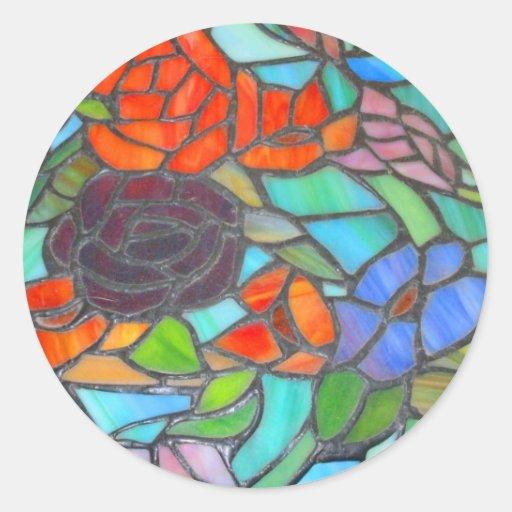 Etiqueta floral do vitral adesivos redondos