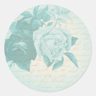 Etiqueta floral feminino & feminino do rosa azul adesivo