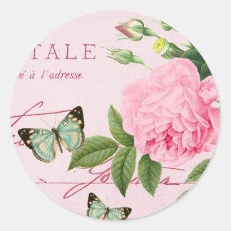 Etiqueta floral francesa do vintage feminino com adesivo