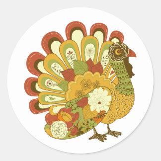 Etiqueta floral lunática de Turquia Thankgiving