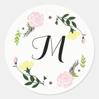 Etiqueta floral Monogrammed do casamento do jardim Adesivo