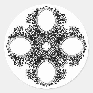 Etiqueta floral preta da grinalda